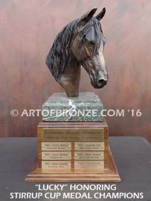 Lucky sculpture bust of thoroughbred horse for home or office