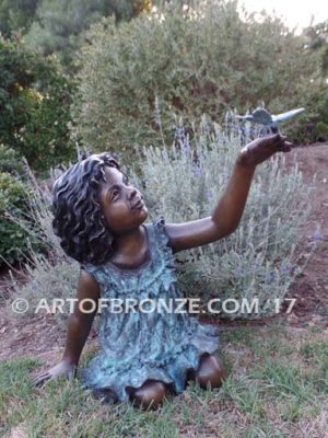 Special Butterfly bronze sculpture of young girl wearing a dress with a butterfly
