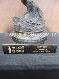 Eagle Award flying eagle sculpture corporate award for Coca Cola on laser engraved marble base