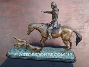 Hunting Day sculpture of hunting rider and scent hounds gift award attached to marble base