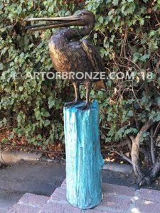 Along the Shore (II) bronze sculpture of life-size wild heron