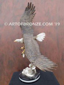 Bronze sculpture of flying bald eagle for indoor or outdoor display