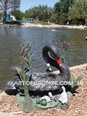 Black Swan outdoor life-size statue of swan and playing cygnets