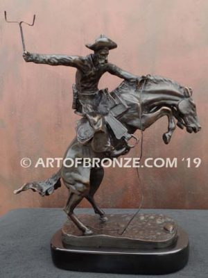 Bronco Buster bronze sculpture after Frederic Remington of cowboy ranger on horse