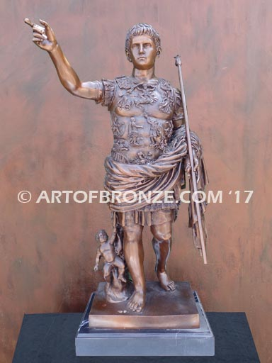 Augustus Caesar sculpture intricate detailed bronze figure statue attached to marble base