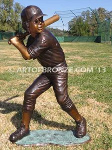 Championship Game batter A both bronze sculpture of two baseball players hitting and pitching