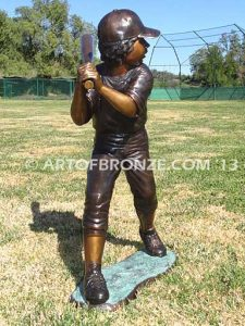 Championship Game batter B both bronze sculpture of two baseball players hitting and pitching