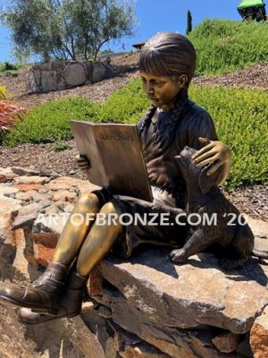 Love and Devotion sculpture of young reader girl with dog and book