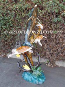 beauty-beneath-backview-bronze-dolphin-statue