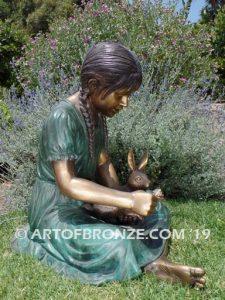 Feeding My Rabbit Otherside Bronze Girl Statue