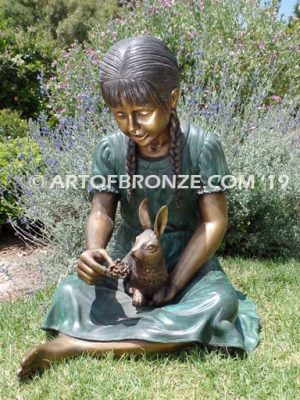 Feeding My Rabbit Bronze Statue Girl