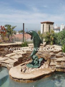 Above the Splash marine art bronze sculpture dolphin monument
