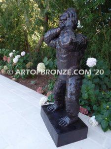 Great Ape bronze sculpture of standing monkey with head in hands