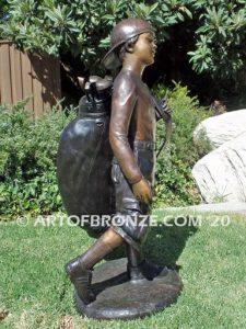 Practice makes Perfect bronze sculpture of junior golfer practicing for USPGA