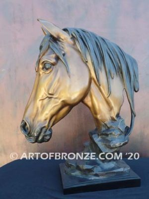 Tenderhearted sculpture bust of thoroughbred horse for home or office