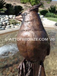 Cardinal Brown Patina outdoor statue of a bronze cardinal state bird of North Carolina