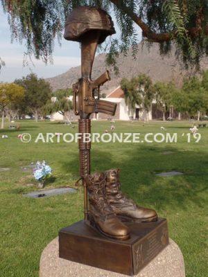 Fallen Solider Battle Cross life-size bronze sculpture memorial tribute