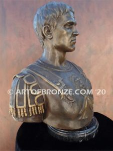Caesar bust sculpture intricate detailed bronze bust attached to marble base