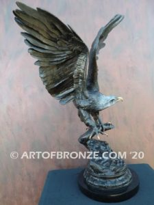 Eagle IV classical bronze eagle grasping branch in talons corporate gift or award