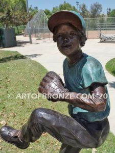 All Star Game bronze sculpture of baseball pitcher kid for outdoors